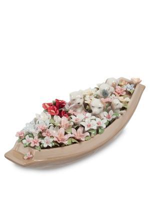 Статуэтка Щенки в цветочной лодке Pavone. Цвет: бежевый, белый, розовый