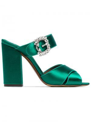 Атласные босоножки Reyner 100 Tabitha Simmons. Цвет: зелёный