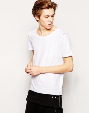 AKA Удлиненная футболка c молниями по бокам. Цвет: белый