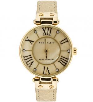 Кварцевые часы с кожаным браслетом Anne Klein