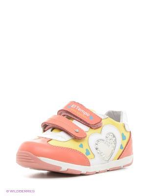 Кроссовки El Tempo. Цвет: желтый, коралловый