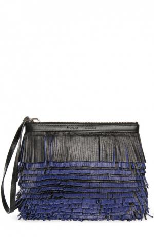 Кожаный клатч с бахромой Proenza Schouler. Цвет: разноцветный