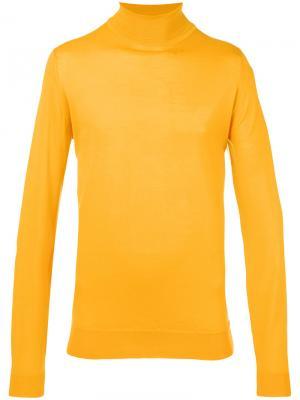 Джемпер с отворотной горловиной John Smedley. Цвет: жёлтый и оранжевый