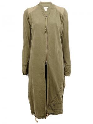 Удлиненная куртка на молнии Greg Lauren. Цвет: зелёный