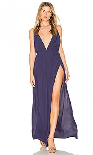 Макси платье с глубоким вырезом BLQ BASIQ. Цвет: синий
