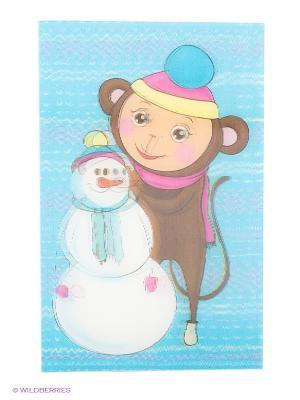 Обезьянка со снеговиком, 3D магнит, 8,5см Пуффи. Цвет: голубой