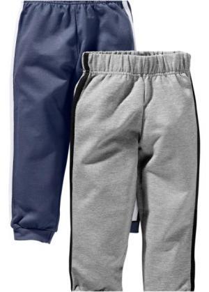 Трикотажные брюки (2 шт.) (индиго + серый меланж) bonprix. Цвет: индиго + серый меланж