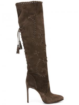 Высокие сапоги на шпильке Le Silla. Цвет: коричневый