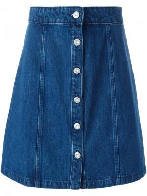 Ждинсовая юбка А-образного силуэта Être Cécile. Цвет: синий