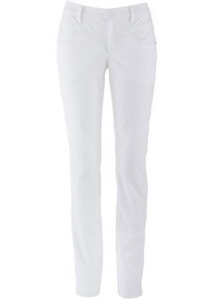 Прямые брюки стретч (белый) bonprix. Цвет: белый