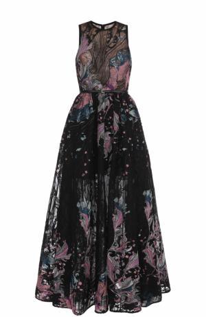 Приталенное платье-макси с поясом и вышивкой Elie Saab. Цвет: разноцветный