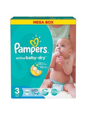Подгузники Active Baby-Dry 5-9 кг, 3 размер, 150 шт. Pampers. Цвет: зеленый