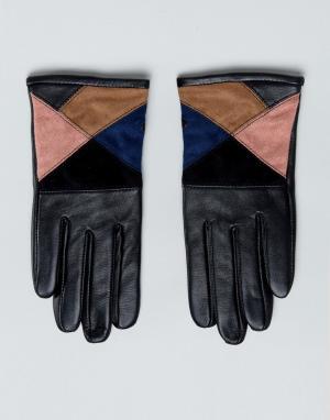 ASOS Перчатки из кожи и замши. Цвет: мульти