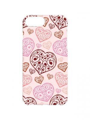 Чехол для iPhone 7Plus Кружевные сердца Арт. 7Plus-085 Chocopony. Цвет: розовый, коричневый