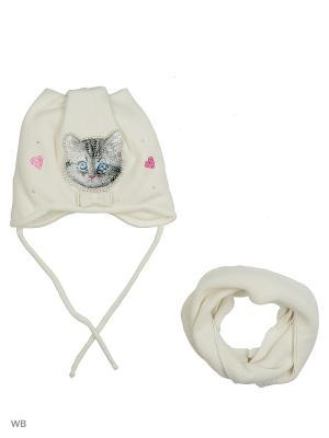 Шапка и шарф Ambra. Цвет: молочный