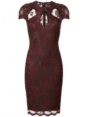 Кружевное платье с прорезями Olvi´S. Цвет: красный