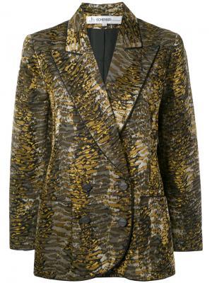 Пиджак с тигровым принтом 1990-х годов выпуска Jean Louis Scherrer Vintage. Цвет: зелёный