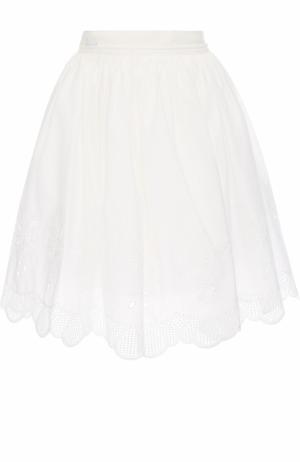 Пышная мини-юбка с кружевной отделкой Moncler. Цвет: белый
