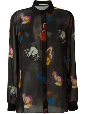 Прозрачная рубашка с принтом животных Marco De Vincenzo. Цвет: чёрный