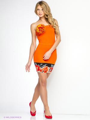 Платье SUGARLIFE. Цвет: оранжевый, белый, черный