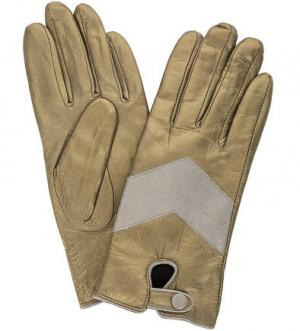 Кожаные перчатки золотистого цвета Scotch&Soda. Цвет: золотистый