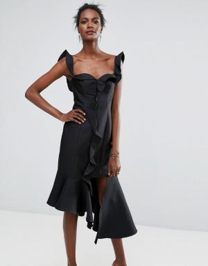 Keepsake Платье с оборкой Wallflower. Цвет: черный