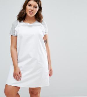 ASOS Curve Белое джинсовое платье-комбинация с оборками. Цвет: синий