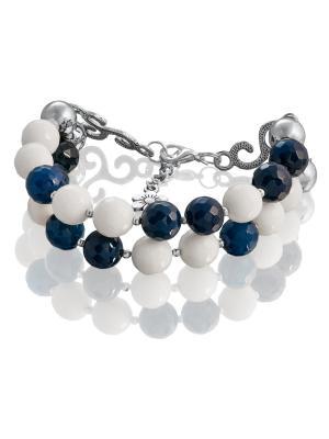 Браслет с синим и белым агатом L'ATTRICE. Цвет: синий, белый