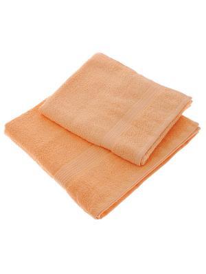 Махровое полотенце персик 70*140-100% хлопок, в коробке УзТ-ПМ-114-08-24к Aisha. Цвет: персиковый