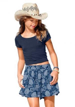 Юбка-брюки с принтом Arizona. Цвет: цвет морской волны с набивным рисунком