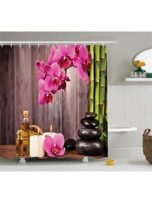 Фотоштора для ванной Цветочная феерия, 180*200 см Magic Lady. Цвет: зеленый, коричневый, розовый, черный