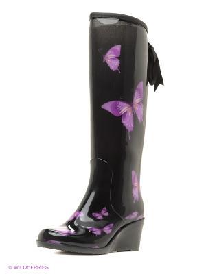 Резиновые сапоги JUST COUTURE. Цвет: черный, фиолетовый