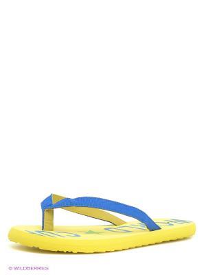 Шлепанцы Oodji. Цвет: желтый, синий