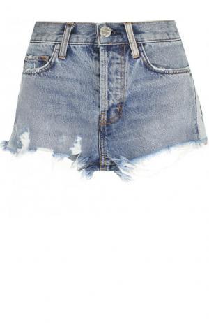 Джинсовые мини-шорты с потертостями Current/Elliott. Цвет: голубой