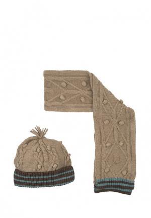 Комплект шапка и шарф Tutto Piccolo. Цвет: бежевый