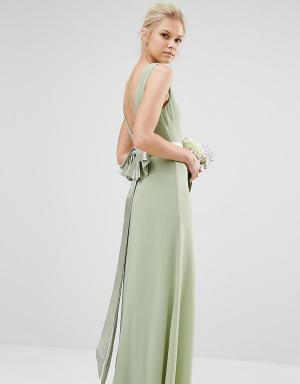 TFNC Petite Свадебное платье макси с сатиновым бантом сзади. Цвет: зеленый