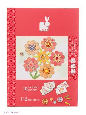 Большая магнитная книга-игра Цветы (113 магнитов, 10 карточек) Janod. Цвет: красный