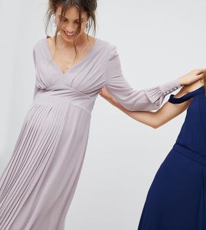 TFNC Maternity Платье миди с длинными рукавами и плиссированной юбкой. Цвет: серый