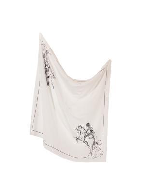 Платок Два наездника в кепке, 90х90 см ArtNiva. Цвет: белый