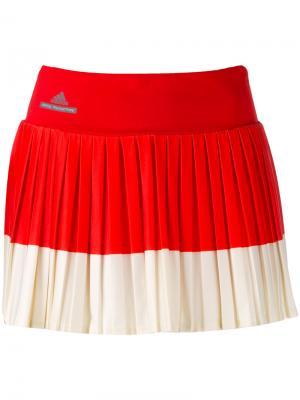 Плиссированная юбка с контрастными панелями Adidas By Stella Mccartney. Цвет: красный