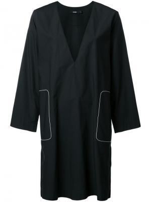 Платье с V-образным вырезом Bassike. Цвет: чёрный