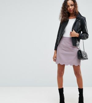 ASOS Petite Строгая мини юбка-трапеция с фигурной отделкой по краю. Цвет: серый