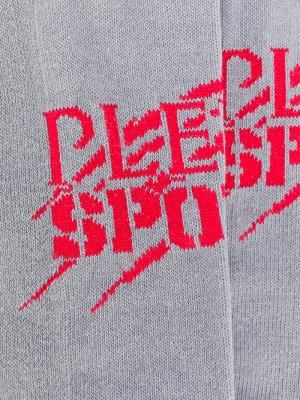 Трикотажные носки с логотипом Plein Sport. Цвет: серый