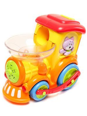 Игрушка поезд с шарами 1шт HUILE. Цвет: желтый