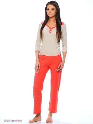 Комплект одежды Milana Style. Цвет: красный, бежевый
