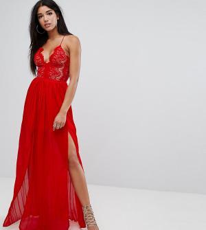 Rare Платье макси с глубоким декольте и двумя разрезами London. Цвет: красный
