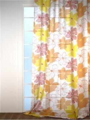 Тюль с рисунком IQ-KOMFORT. Цвет: прозрачный, горчичный, оранжевый