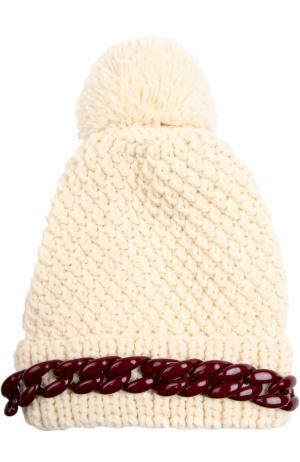 Шерстяная шапка с декоративной цепью и помпоном 7II. Цвет: кремовый