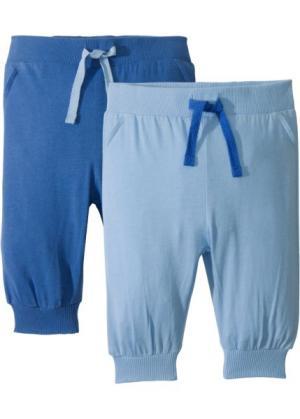 Трикотажные брюки для малышей (2 шт.), органический хлопок (голубой/ледниковый синий) bonprix. Цвет: голубой/ледниковый синий
