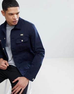 Love Moschino Синяя джинсовая куртка с золотистой нашивкой. Цвет: синий